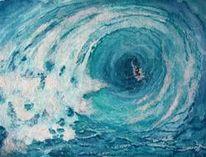 Welle, Aquarellmalerei, Blau, Brandung