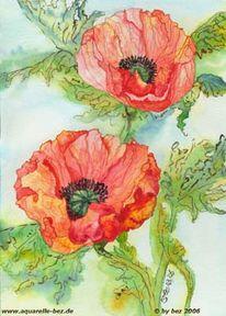 Aquarellmalerei, Grafik, Mohn, Blumen