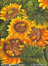 Sonnenblumen, Grafik, Stillleben, Aquarellmalerei