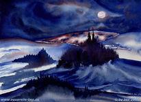 Grafik, Aquarellmalerei, Blau, Dunkel