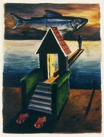 Fisch, Aquarellmalerei, Grafik, Skurril