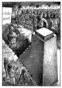 Zeichnung, Politisch, Auferstanden, Bleistiftzeichnung