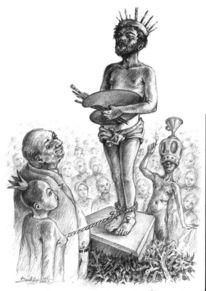 Skurril, Bleistiftzeichnung, Figur, Zeichnung