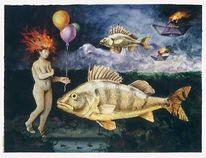 Skurril, Aquarellmalerei, Grafik, Abgehoben