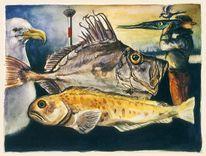 Grafik, Fisch, Skurril, Aquarellmalerei
