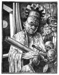 Skurril, Bleistiftzeichnung, Priester, Figurativ