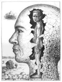Skurril, Bleistiftzeichnung, Kopf, Kopfwelten