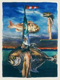 Traum, Grafik, Aquarellmalerei, Figur