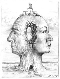 Skurril, Bleistiftzeichnung, Zeichnung, Kopfwelten