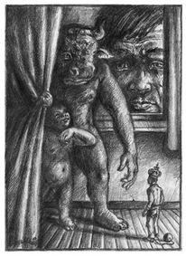 Figur, Skurril, Mann, Bleistiftzeichnung
