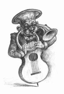 Skurril, Bleistiftzeichnung, Realismus, Musik