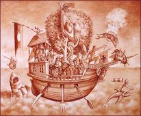 Narrenschiff, Zeichnung, Figur, Skurril