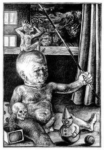 Figur, Bleistiftzeichnung, Spielgefährte, Skurril