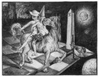 Zeichnung, Sprungbereit, Bleistiftzeichnung, Figur