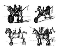 Skurril, Figur, Traum, Pferde