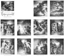 Kohlezeichnungen, Goehte, Hexe, Zeichnung