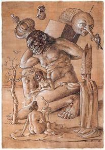 Figur, Glaube, Skurril, Tuschezeichnung