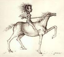 Reiterin, Zeichnung, Figur, Skurril