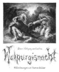 Kohlezeichnungen, Faust, Hexe, Zeichnung