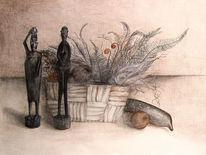 Afrika, Kohlezeichnung, Rötel, Zeichnung