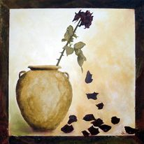 Blumen, Vertocknet, Krug, Rose