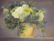 Gelb, Pastellmalerei, Weiß, Stillleben