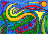 Malerei, Surreal, Buntstiftzeichnung, Polychromos