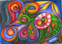 Zeichnung, Surreal, Natur, Buntstiftzeichnung