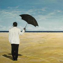Mann, Meer, Strand, Malerei
