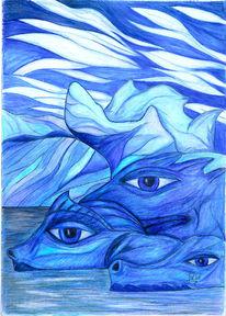 Natur, Zeichnung, Surreal, Buntstiftzeichnung