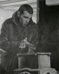 Acrylmalerei, Schwarz weiß, Figural, Malerei