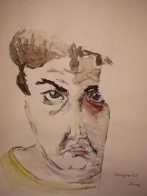 Selbstportrait spiegelbild aquarell, Gemeinschaftsprojekte, Kreaktiv, Selbstportrait