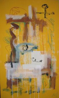 Gelb, Brunnen, Abstrakt, Malerei