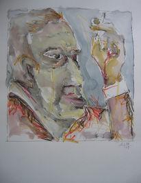 Zigarette, Mann, Aquarellmalerei, Zeichnungen