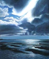 Wolken, Malerei, Sand, Landschaft