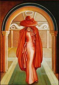 Rot, Hut, Frau, Malerei