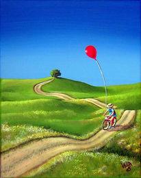 Figural, Fahrrad, Malerei, Wiese