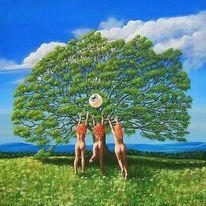 Baum, Wiese, Wolken, Blumen