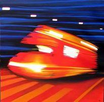 Einsatzwagen, Bewegung, Feuerwehr, Malerei