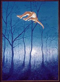 Wald, Malerei, Traum, Fliegen