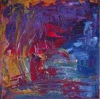 Malerei, Blau, Bunt, Gelb