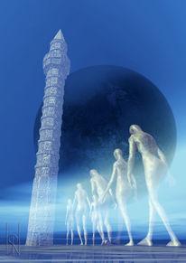 Turm, Elend, Menschen, Mond
