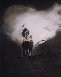 Ölmalerei, Reiter, Americans, Indianer