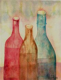 Malerei, Stillleben, Gouachemalerei, Aquarellmalerei