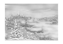 Digital, Schwarz weiß, Landschaft, Fantasie
