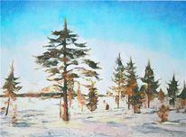 Zeichnung, Lappland, Aquarellmalerei, Grafik
