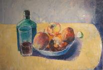 Stillleben mit apfel, Malerei, Figural, Ölmalerei