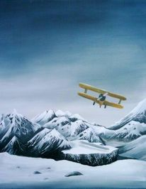 Schnee, Flugzeug, Malerei, Landschaft