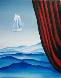 Schiff, Vorhang, Landschaft, Malerei