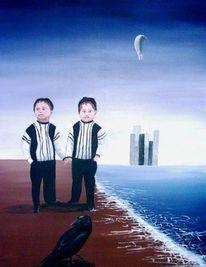 Kinder, Zwillinge, Figural, Meer
